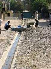 installer, drainage, fossés, transporter, eaux usées, Saida, quartier, Karada, district, Bagdad