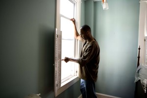 African American, man, opening, window, home