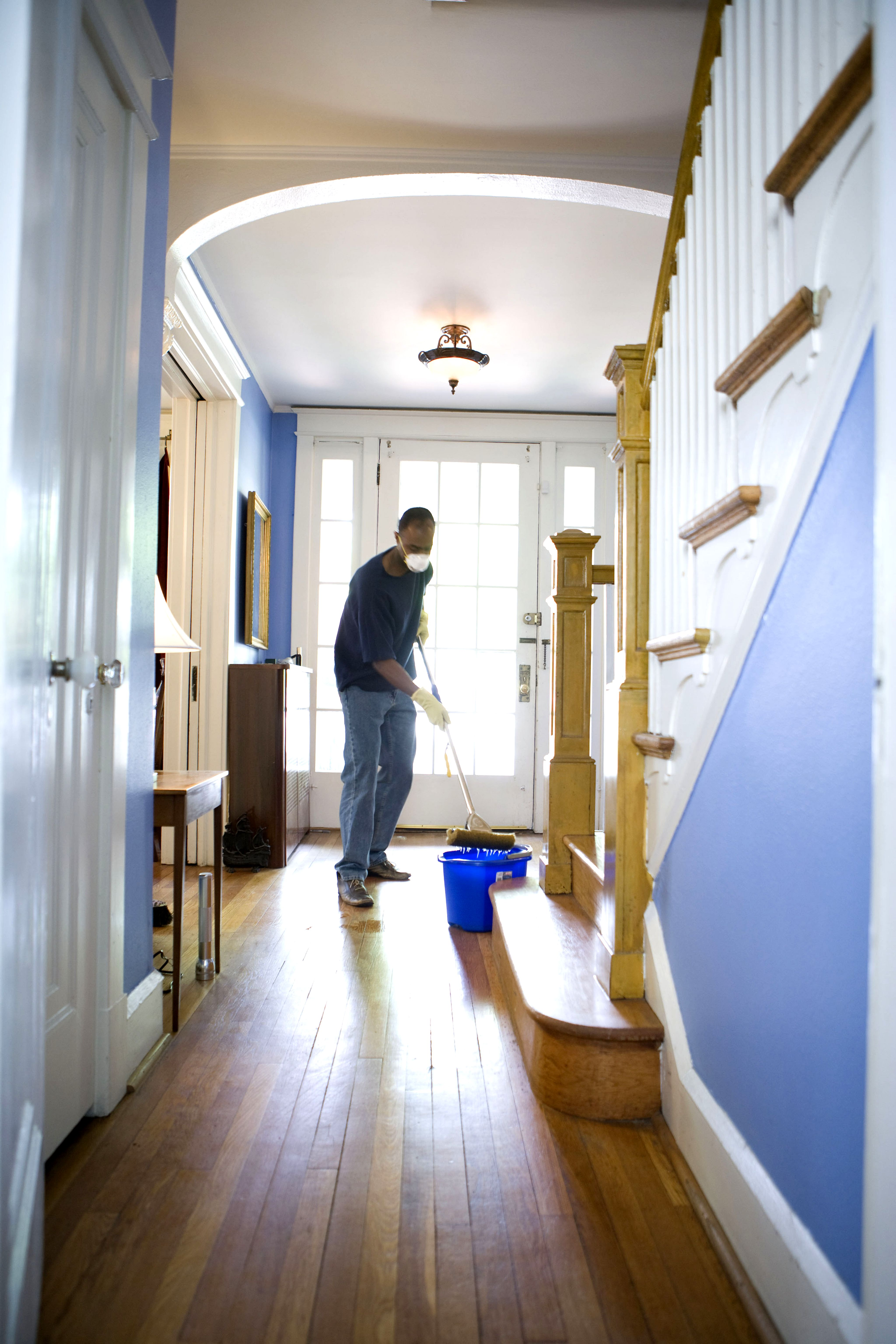free picture  african american  man  damp  mop  clean