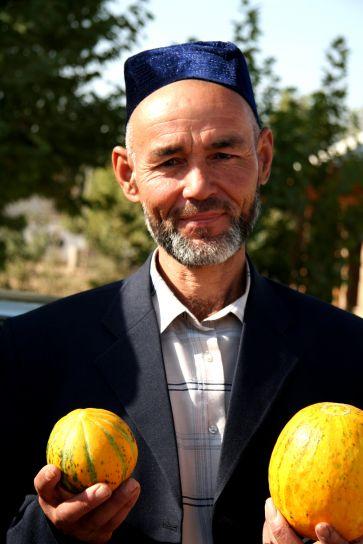 uomo, ritratto, faccia, agricoltore, frutta
