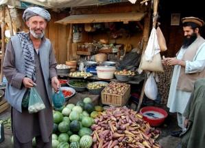 Baharak, bazar, légume, trader