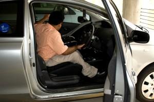 car, equipped, steering, wheel, manual, braking, acceleration, knob