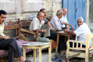 elderly, men, ancient, Nawaz, district, sit, shops, streets, restored