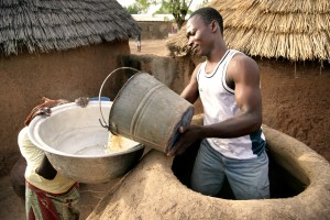farmer, fetching, corn, mud, silo