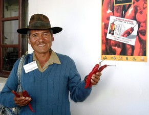 farmer, shows, sample, chili, peppers, sold, international, red, chili, pepper, festival