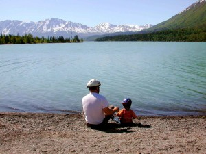 fathers, day, father, kid, lake