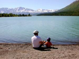 pères, jour, père, enfant, lac