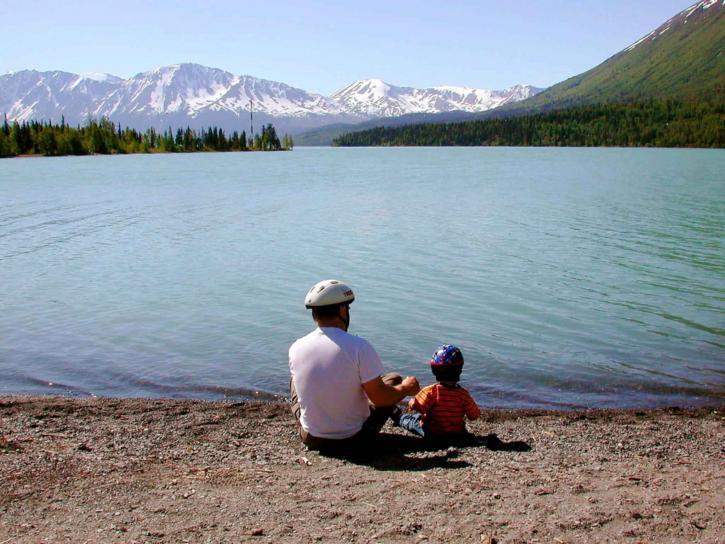 fäder, dag, far, kid, sjön