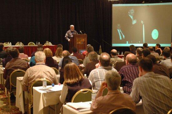 man, podium, speaking, audience
