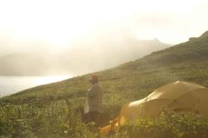 man, camping, mountains, sunshine, day