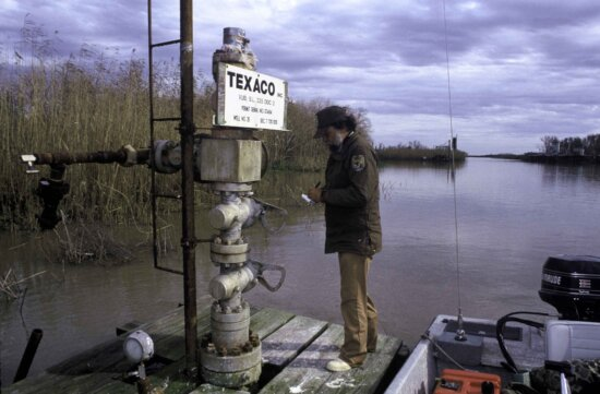 man, checking, oil, well