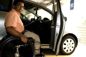mann, rullestol, bil