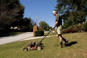 man, mowing, lawn, push, lawnmower, grass