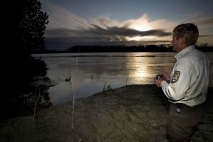 man, observes, sunset