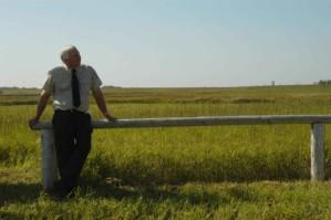 l'homme, avant, prairie, champs, nature