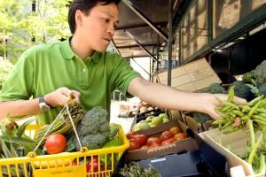 man, shopping, market, vegetable