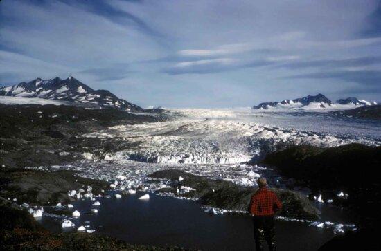 Mann, stehend, oben, Gletscher, auf der Suche