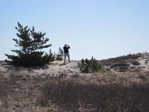 man, taking, photograph, mountain, hill
