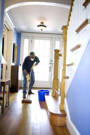man, damp, mop, clean, dust, collected, floor