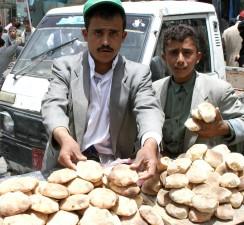 hommes, vendre, produits, le Yémen, le marché