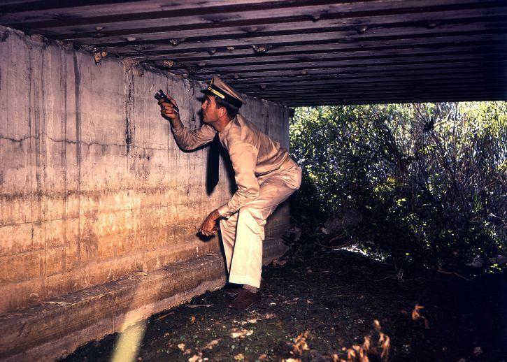 ทหาร นักสืบ ไฟฉาย พกพา ตรวจสอบ ใต้ สะพาน