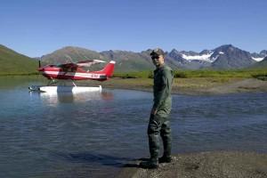 person, river, small, plane, background