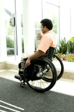 sitting, wheelchair, process, exiting, building