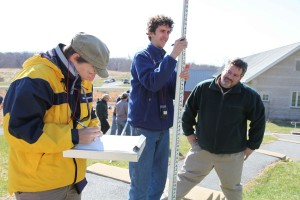 students, attending, course, practice, surveyor, rod, mapping, profiles, various, habitat, features
