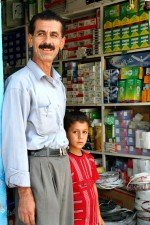 owner, small, shop, Erbil, selling, light, bulbs, electric, supplies