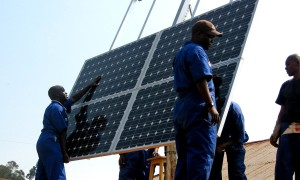 training, workers, install, solar, panels, health, clinics, Rwanda, clean, energy