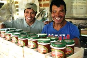 two, Mayan, men, display, handmade, packaged, preserves, sold