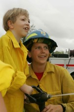 two, young, firefighters, boys, fire