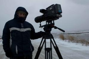 vidéaste, tournage, neigeux, jour
