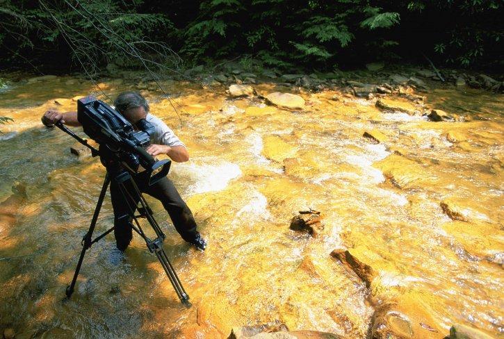videographer, recording, effects, acid, mine, runoff, stream