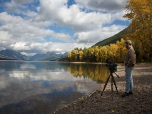 Videographer, landschap, lake