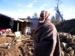 village, older man, shelter, home