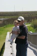 man, toddler, looking, scenery, boardwalk