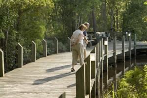 homme, femme, promenade, pont, l'eau