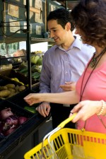 man, woman, process, choosing, healthy, fruits, vegetables