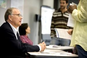 man, meeting, participants, question, answer