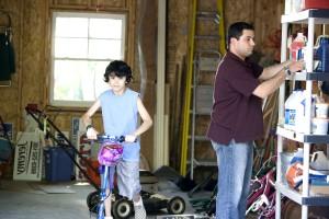man, organizing, garage, son, play