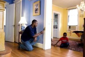 man, renovating, painted, surfaces