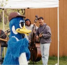 mascot, shape, duck, dancing, musicians, play, instruments