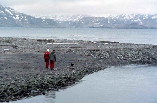 older couple, walking, down, coastline, winter