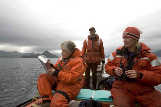 one, male, two females, boat, research, crew