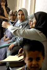 potilaiden, odottaa, Hajaj, terveys, klinikka, yksi, neljä, klinikat, Kirkukin