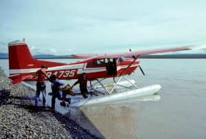 people, beside, transport, float, plane