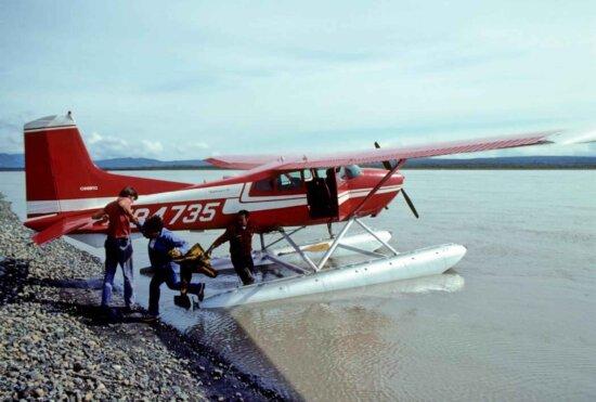 people, beside, transport, float, plane