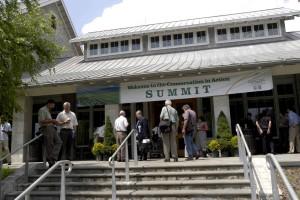 people, entering, summit, building