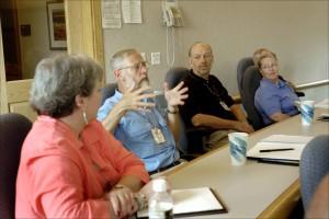la gente, sentado, tabla, participando, grupo, discusión, reunión